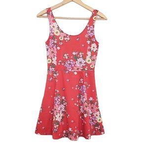 H&M Red Floral Scoopneck Swing Mini Dress